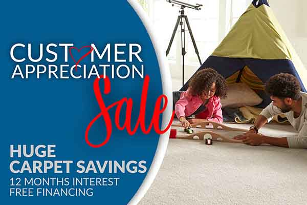 Customer Apperciation Sale - Huge Carpet Savings - 12 Months Interest Free Financing