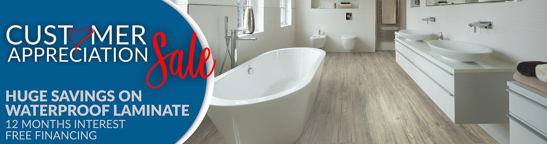 Customer Apperciation Sale - Huge Savings on Waterproof Laminate - 12 Months Interest Free Financing